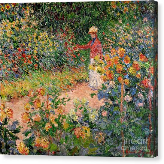 Garden Flowers Canvas Print - Garden At Giverny by Claude Monet
