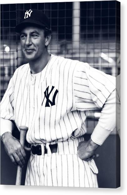 Lou Gehrig Canvas Print - Gary Cooper As Lou Gehrig In Pride Of The Yankees 1942 by Mountain Dreams