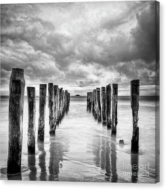 St Clair Canvas Print - Gathering Storm Clouds Over Old Jetty by Colin and Linda McKie
