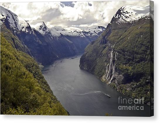 Canvas Print featuring the photograph Geiranger Fjord by Heiko Koehrer-Wagner