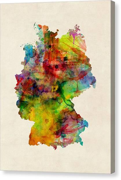 Deutschland Canvas Print - Germany Watercolor Map Deutschland by Michael Tompsett