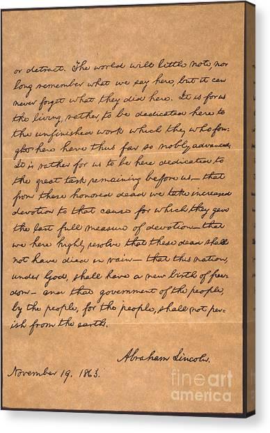 Republican Presidents Canvas Print - Gettysburg Address by Granger