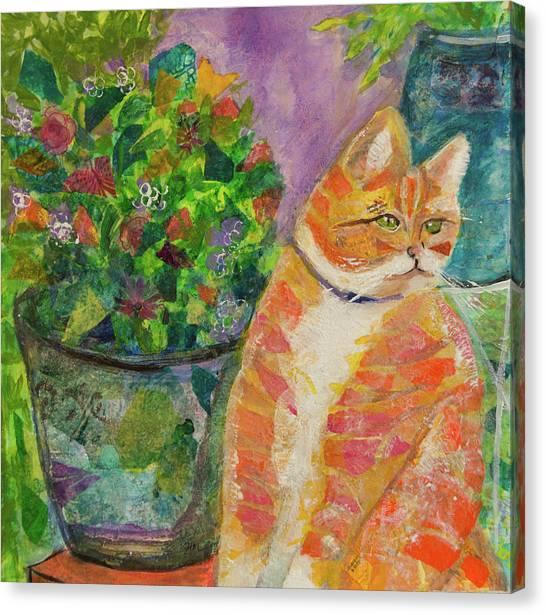 Ginger With Flowers Canvas Print