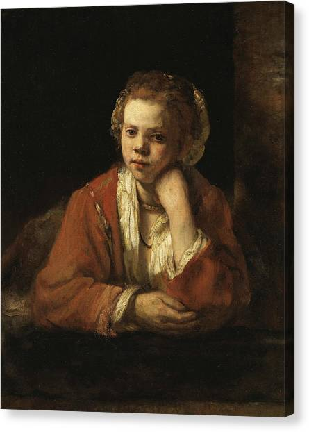 Baroque Art Canvas Print - Girl At A Window by Rembrandt