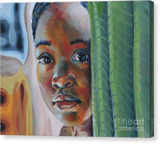 Girl Behind The Green Curtain Canvas Print