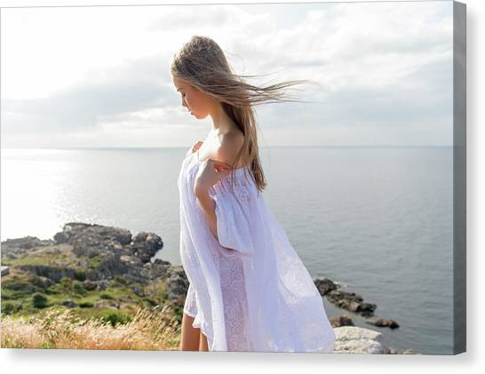 Girl In A White Dress By The Sea Canvas Print