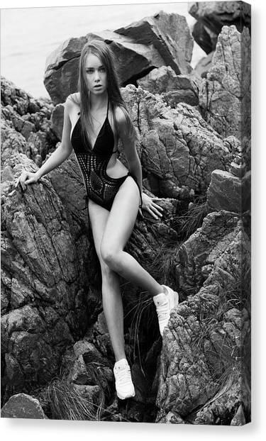 Girl In Black Swimsuit Canvas Print
