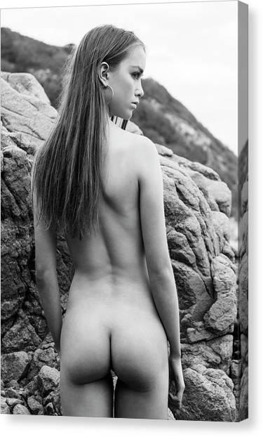Girl On The Rocks Canvas Print