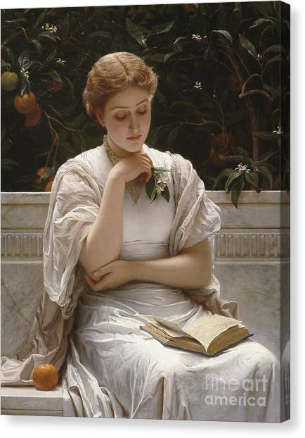 Books Canvas Print - Girl Reading by Charles Edward Perugini