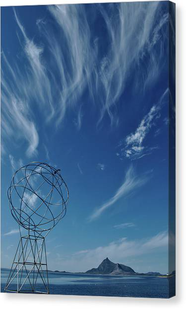 Globe Symbol View  On Sky Background In Norway Canvas Print