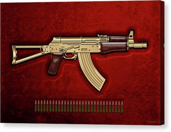 Rifles Canvas Print - Gold A K S-74 U Assault Rifle With 5.45x39 Rounds Over Red Velvet   by Serge Averbukh