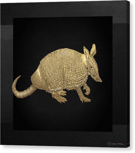 Gold Canvas Print - Gold Armadillo On Black Canvas by Serge Averbukh