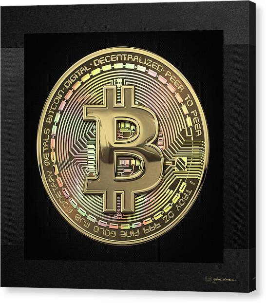 Gold Canvas Print - Gold Bitcoin Effigy Over Black Canvas by Serge Averbukh