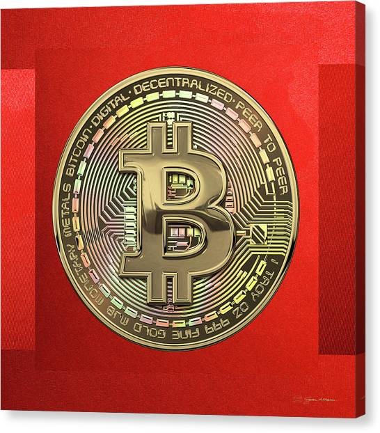 Gold Canvas Print - Gold Bitcoin Effigy Over Red Canvas by Serge Averbukh