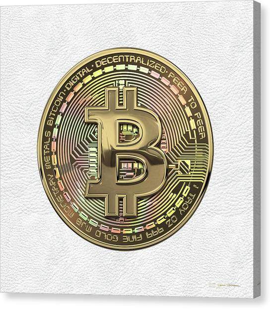 Pop Art Canvas Print - Gold Bitcoin Effigy Over White Leather by Serge Averbukh