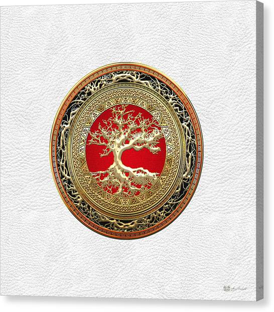 Medieval Art Canvas Print - Gold Celtic Tree Of Life On White Leather  by Serge Averbukh