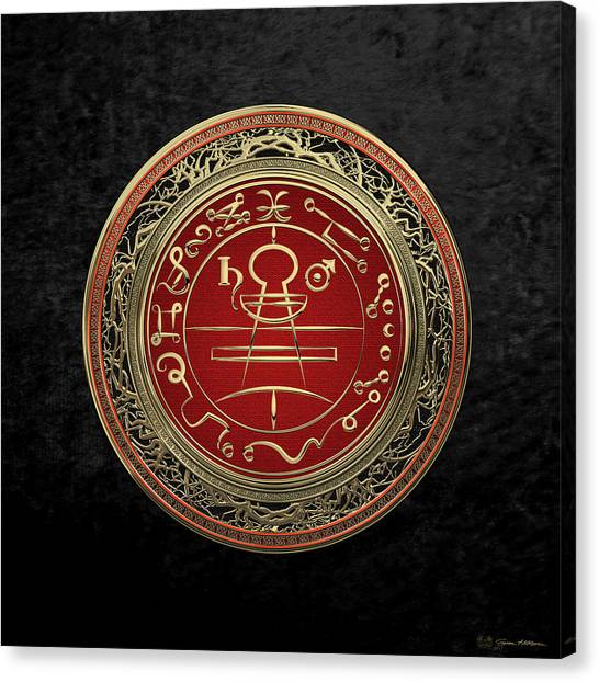 Gold Canvas Print - Gold Seal Of Solomon - Lesser Key Of Solomon On Black Velvet  by Serge Averbukh