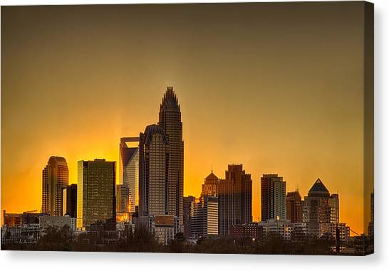 Golden Charlotte Skyline Canvas Print
