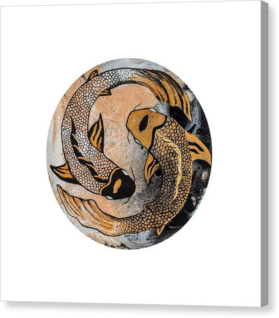 Canvas Print featuring the painting Golden Yin And Yang by Darice Machel McGuire