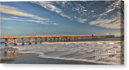 Ucsb Canvas Print - Goleta Beach And Pier by Mitch Shindelbower