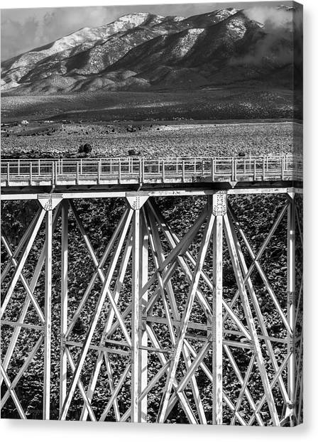 Gorge Bridge Black And White Canvas Print
