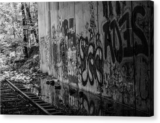 Graffitti And Train Tracks Canvas Print