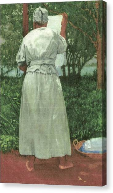 Granny At The Line Canvas Print by Perry Ashe