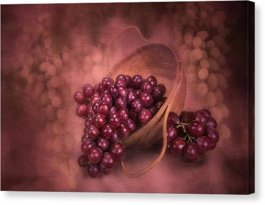 Fruit Baskets Canvas Print - Grapes In Wicker Basket by Tom Mc Nemar