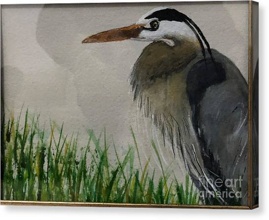 Canvas Print featuring the painting Great Blue Heron by Donald Paczynski
