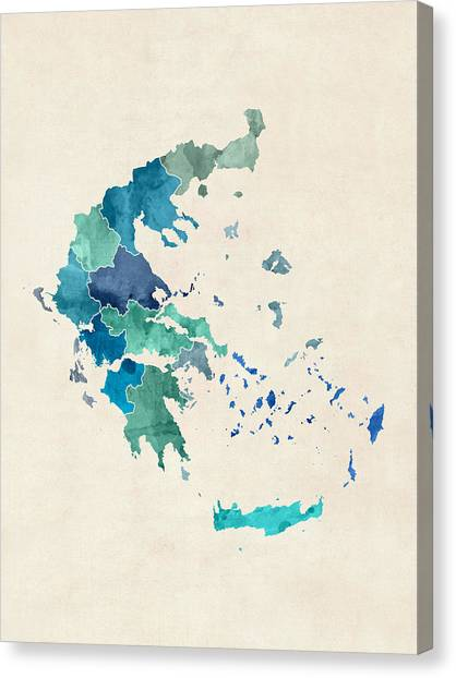 Greece Canvas Print - Greece Watercolor Map by Michael Tompsett