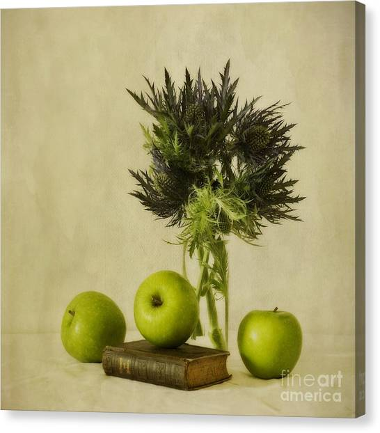 Apple Canvas Print - Green Apples And Blue Thistles by Priska Wettstein