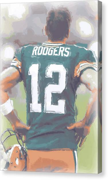 Aaron Rodgers Canvas Print - Green Bay Packers Aaron Rodgers by Joe Hamilton