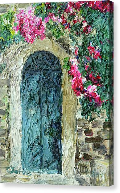 Green Italian Door With Flowers Canvas Print