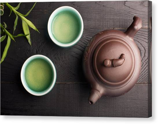 Tea Leaves Canvas Print - Green Tea In The Tea Cups by Vadim Goodwill
