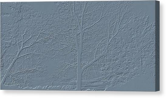 Grey Embossed Trees Canvas Print