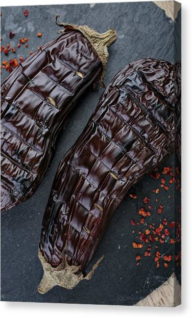 Grills Canvas Print - Grilled Aubergine by Nailia Schwarz