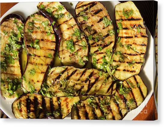 Salad Dressing Canvas Print - Grilled Eggplant With Dressing by Patricia Hofmeester