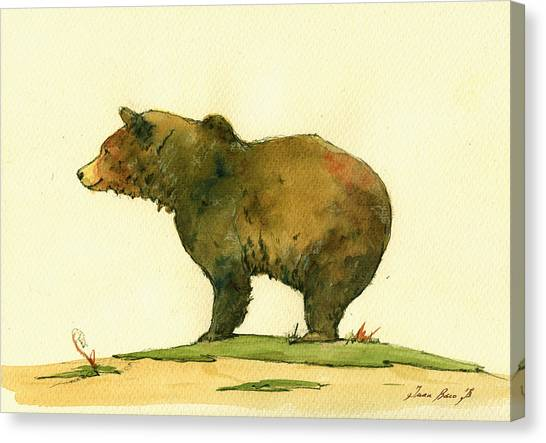Bears Canvas Print - Grizzly Bear Watercolor Painting by Juan  Bosco