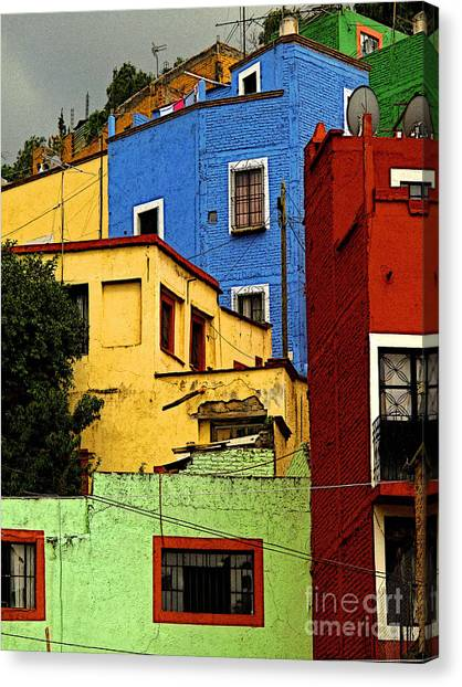 Guanajuato Hillside 3 Canvas Print by Mexicolors Art Photography