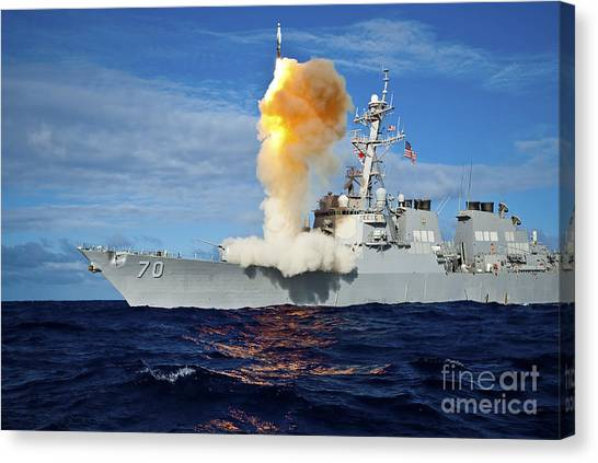 Warheads Canvas Print - Guided Missile Destroyer Uss Hopper by Stocktrek Images