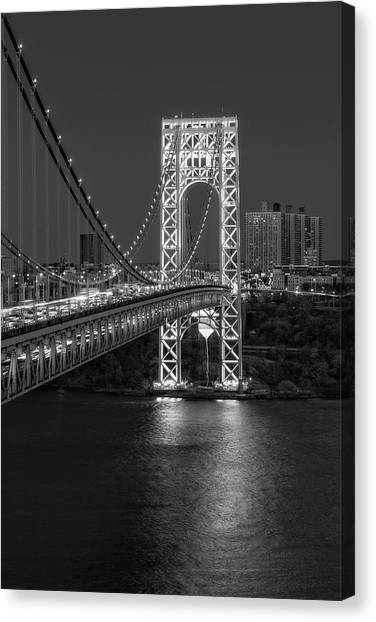 The City That Never Sleeps Canvas Print - Gw Bridge At Twilight by Susan Candelario