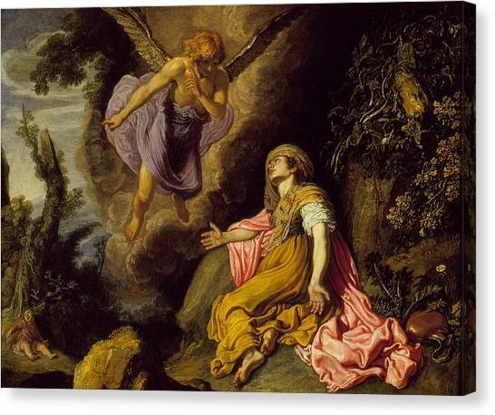 Apparition Canvas Print - Hagar And The Angel by Pieter Lastman