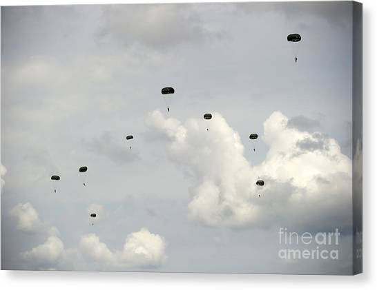 Green Berets Canvas Print - Halo Jumpers Descend To The Ground by Stocktrek Images