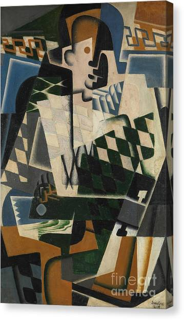 Pablo Picasso Canvas Print - Harlequin With A Guitar, 1917 by Juan Gris