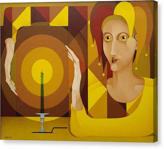 Harlequin With Candle   2004 Canvas Print by S A C H A -  Circulism Technique