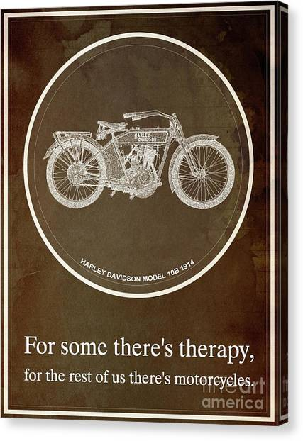 Yamaha Canvas Print - Harley Davidson Model 10b 1914 For Some There's Therapy, For The Rest Of Us There's Motorcycles by Drawspots Illustrations