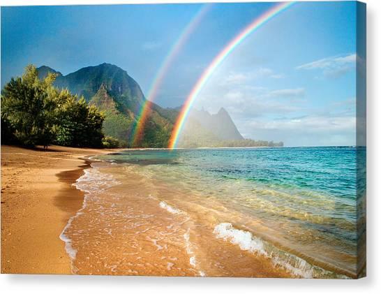 Hawaii Canvas Print - Hawaii Rainbow by Monica and Michael Sweet
