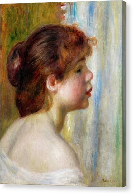 Pierre-auguste Renoir Canvas Print - Head Of A Young Woman by Pierre-Auguste Renoir