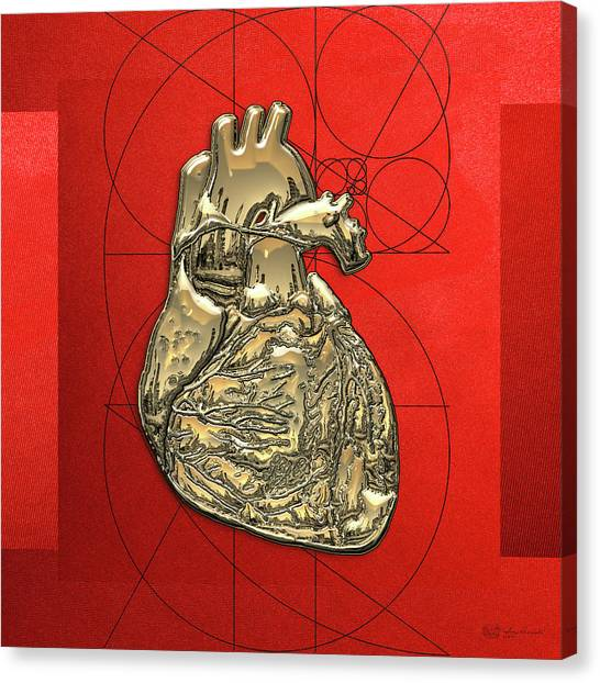 Pop Art Canvas Print - Heart Of Gold - Golden Human Heart On Red Canvas by Serge Averbukh
