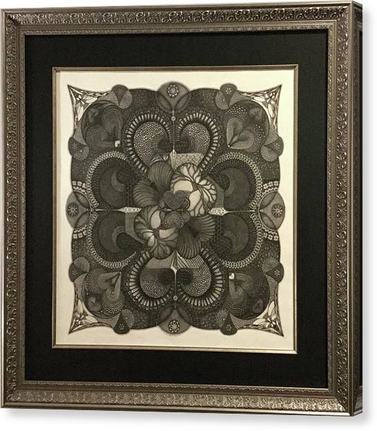 Canvas Print featuring the drawing Heart To Heart by James Lanigan Thompson MFA